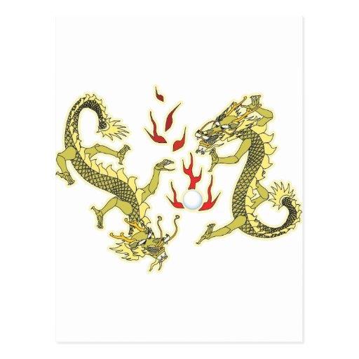 Dragones del estilo chino tarjeta postal