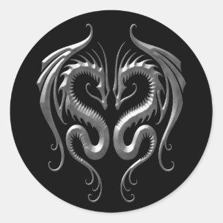 Dragones del hierro pegatina redonda