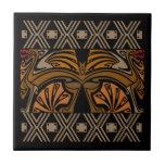Dragones del marrón del nouveau del arte del vinta tejas
