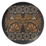 Dragones del marrón del nouveau del arte del vinta plato de cena