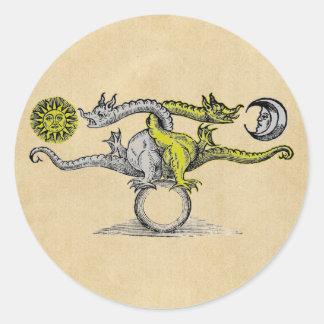 Dragones del oro y de la plata pegatina redonda
