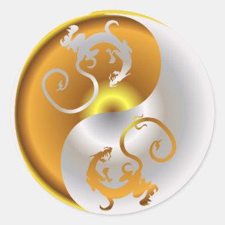 Dragones del zen etiqueta redonda