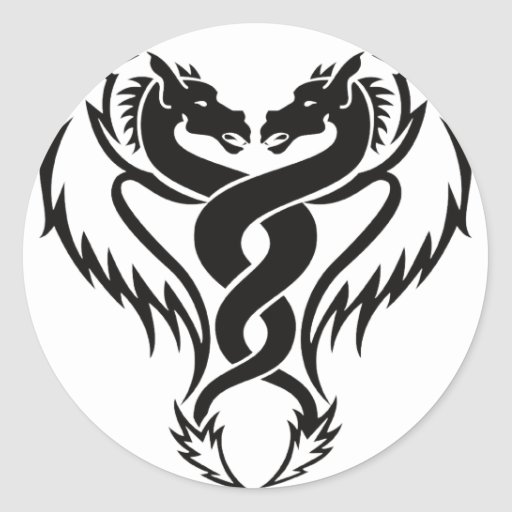 dragones en alegría de la paz del amor pegatina redonda