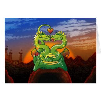 Dragones enojado en amor tarjeta de felicitación