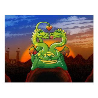 Dragones enojado en amor tarjetas postales