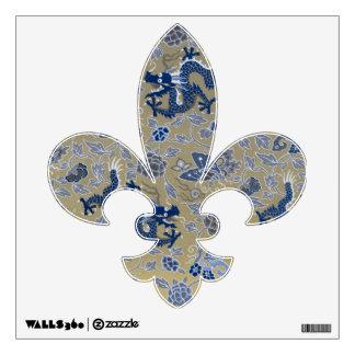 Dragones, flores, y mariposas azules vinilo decorativo
