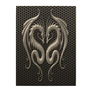 Dragones gemelos con el efecto de acero de la cuadro de madera