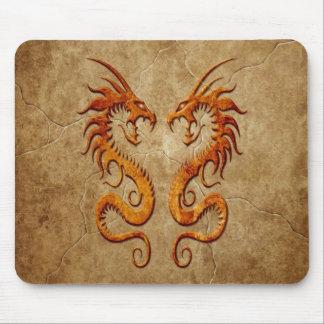 Dragones gemelos de piedra tapete de ratón