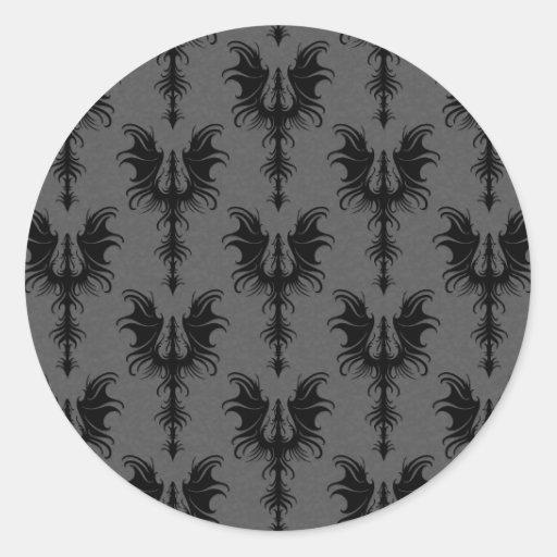 Dragones góticos negros en modelo gris etiquetas redondas