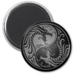 Dragones, gris y negro de Yin Yang Imán Redondo 5 Cm
