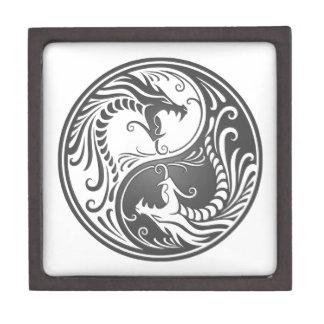 Dragones grises adaptables de Yin Yang Caja De Regalo De Calidad