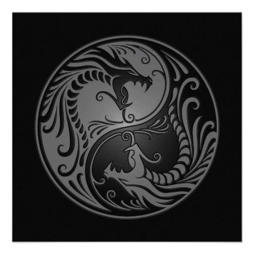 Dragones grises y negros de Yin Yang Anuncio Personalizado