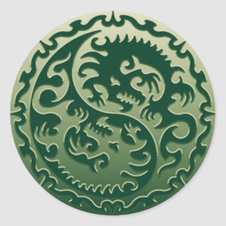 Dragones mágicos 2 de Yin Yang Pegatina Redonda