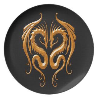 Dragones, marrón y negro del hierro plato de comida