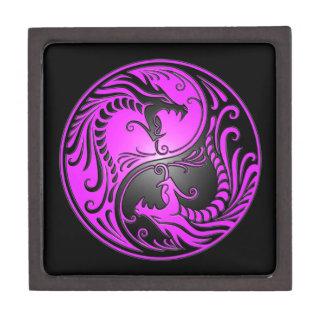 Dragones, púrpura y negro de Yin Yang Caja De Joyas De Calidad