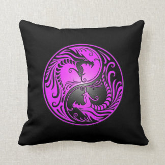 Dragones, púrpura y negro de Yin Yang Cojines