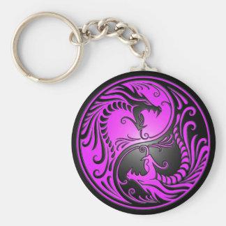 Dragones, púrpura y negro de Yin Yang Llavero Redondo Tipo Pin