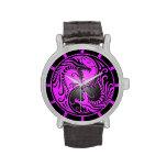 Dragones, púrpura y negro de Yin Yang Reloj