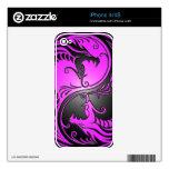 Dragones, púrpura y negro de Yin Yang Skins Para iPhone 4