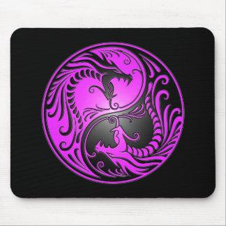 Dragones púrpura y negro de Yin Yang Tapetes De Ratones