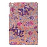 Dragones púrpuras rosados y modelo de flores púrpu iPad mini cárcasa