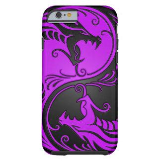 Dragones púrpuras y negros de Yin Yang Funda De iPhone 6 Tough