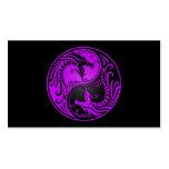 Dragones púrpuras y negros de Yin Yang Tarjetas De Negocios