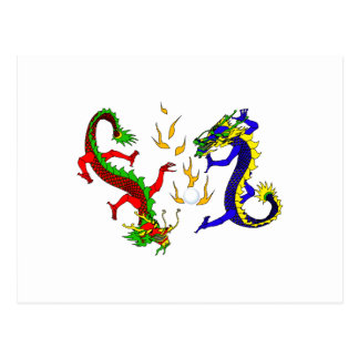 Dragones que luchan postales