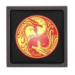 Dragones, rojo y amarillo de Yin Yang Cajas De Joyas De Calidad