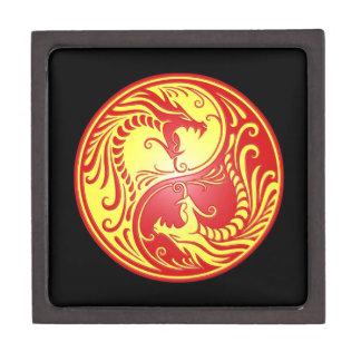 Dragones, rojo y amarillo de Yin Yang Cajas De Regalo De Calidad