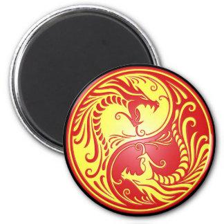 Dragones, rojo y amarillo de Yin Yang Imanes
