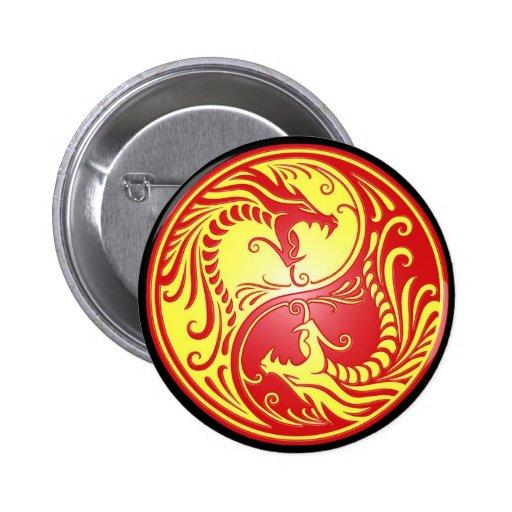 Dragones, rojo y amarillo de Yin Yang Pin Redondo De 2 Pulgadas