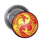Dragones, rojo y amarillo de Yin Yang Pins