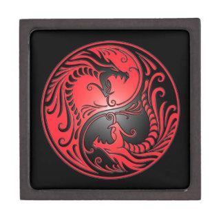 Dragones, rojo y negro de Yin Yang Caja De Regalo De Calidad