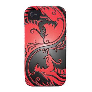 Dragones, rojo y negro de Yin Yang iPhone 4/4S Fundas
