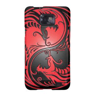 Dragones, rojo y negro de Yin Yang Samsung Galaxy S2 Fundas