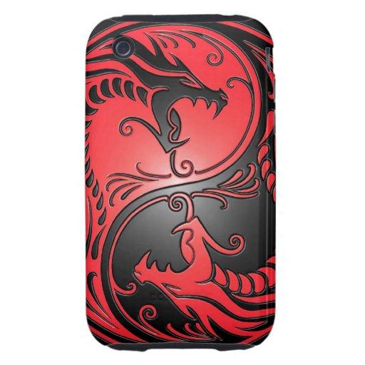 Dragones, rojo y negro de Yin Yang Tough iPhone 3 Coberturas