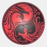Dragones, rojo y negro de Yin Yang Pegatinas