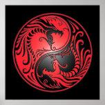 Dragones, rojo y negro de Yin Yang Poster