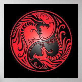 Dragones, rojo y negro de Yin Yang Póster