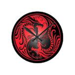 Dragones, rojo y negro de Yin Yang Reloj