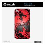 Dragones, rojo y negro de Yin Yang Calcomanías Para El iPhone 4