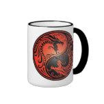 Dragones, rojo y negro de Yin Yang Tazas