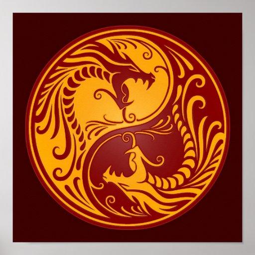 Dragones rojos de oro de Yin Yang Poster