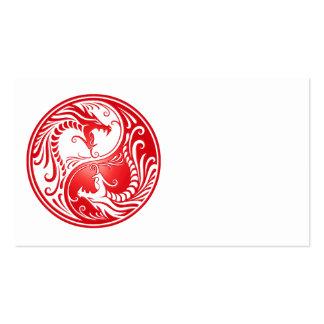Dragones rojos de Yin Yang Tarjetas De Visita