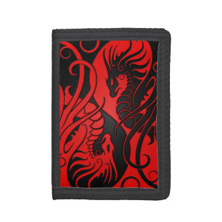 Dragones rojos y negros de Yin que vuelan Yang