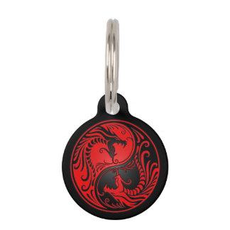 Dragones rojos y negros de Yin Yang Placas Para Mascotas