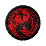 Dragones rojos y negros de Yin Yang Frascos De Dulces