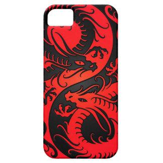 Dragones rojos y negros del chino de Yin Yang iPhone 5 Funda