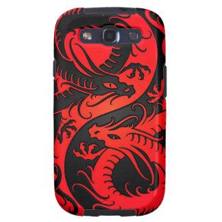 Dragones rojos y negros del chino de Yin Yang Samsung Galaxy S3 Carcasa
